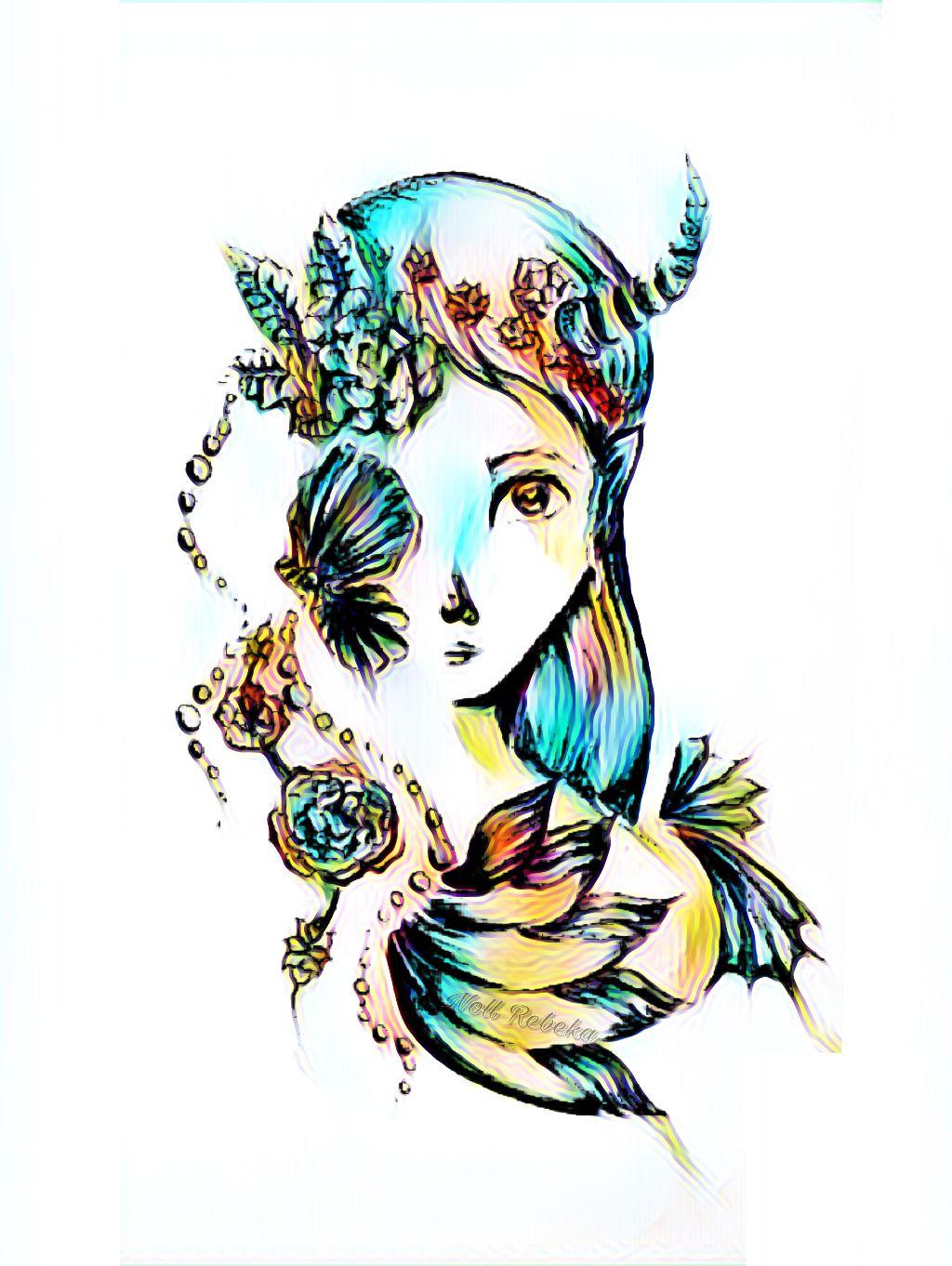 #girl #effect #colorful #drawing #mydrawing #mermaid #shell #blue #rose #random