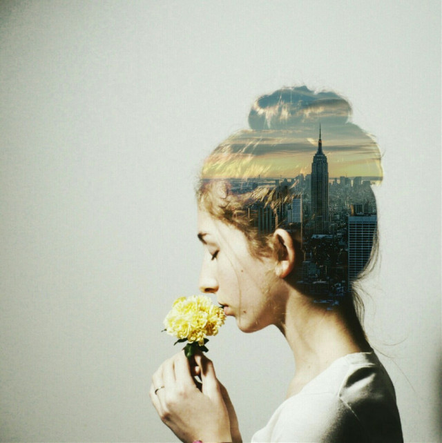 o p p o s i t e s #FreeToEdit #girl #city #flower