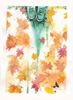 autumn leaves nature watercolor