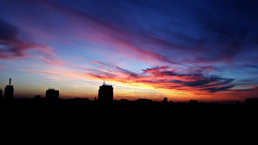 blue sky red sunset