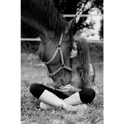 horse love animal girl blackandwhite