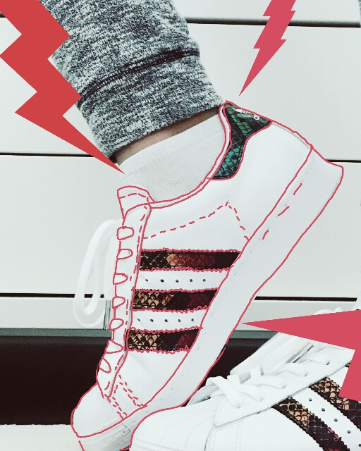 #FreeToEdit #sneakers #shoes #adidas #outline #fashion #red #lightning #threebands