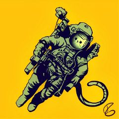 astronaut cat space spacetraveler digitalart