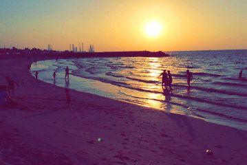 beach sunset water sky sun