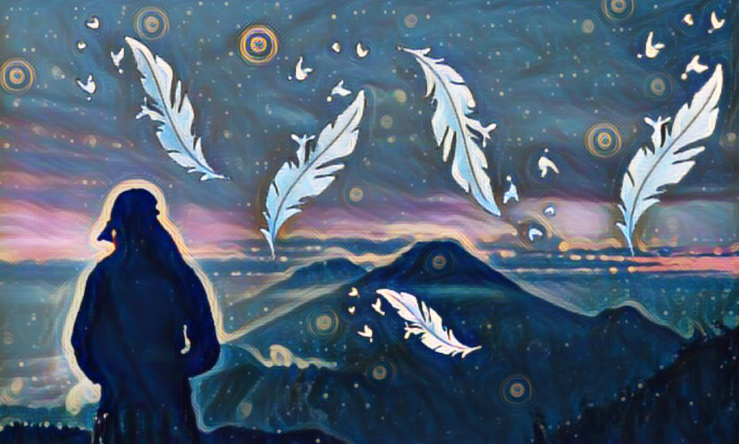 #FreeToEdit  #Remixes #mountains #sky #clouds #feathers #birds #stickers #midnighteffect