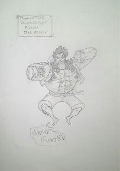 draw onepiece monkeydluffy luffy gear4