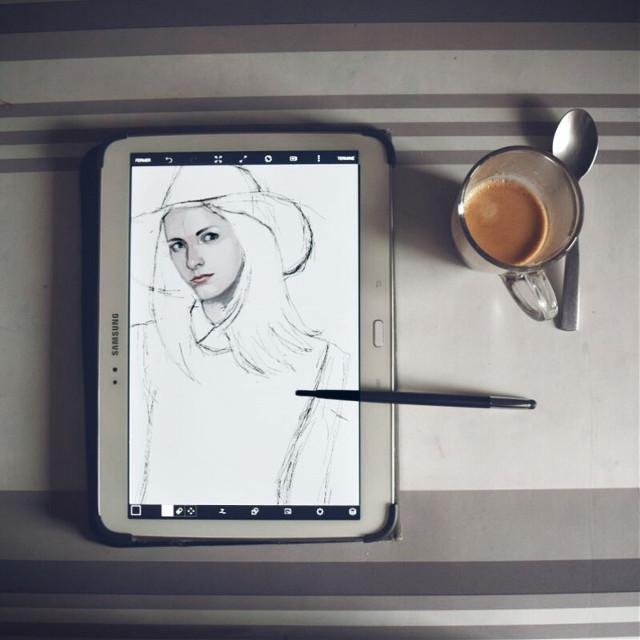 drawing and drinking a coffe #picsart  #madewithpicsart #drawingtool #wip #drawing
