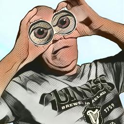 edited manipulation people portrait binoculars